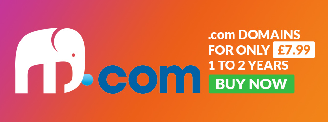 .com domains for only £7.99